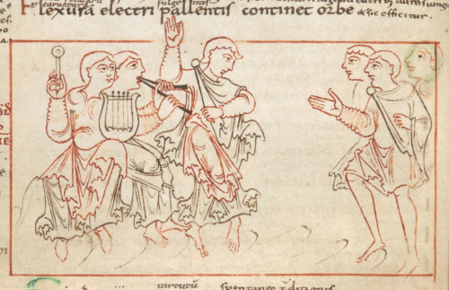 A detail from an 11th-century manuscript of the Psychomachia, showing an illustration of Luxuria and her companions dancing.