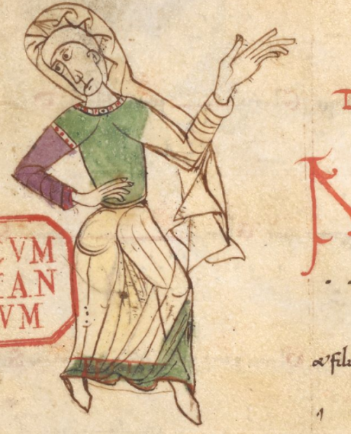 A detail from a medieval Gradual, showing an illustration of a dancing figure.