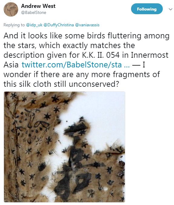 Another Twitter Screenshot from Andrew West's account, with another picture of the Silk fragment identifying the birds depicted amongst the stars, and stating this matches the description of another piece.