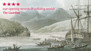 Advert used for Cook exhibition - ship surrounded by small boats