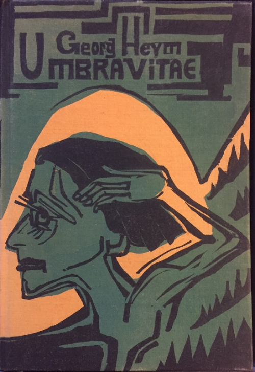 Cover of 'Umbra Vitae' showing the head and shoulders of a figure facing left, in green against a yellow background