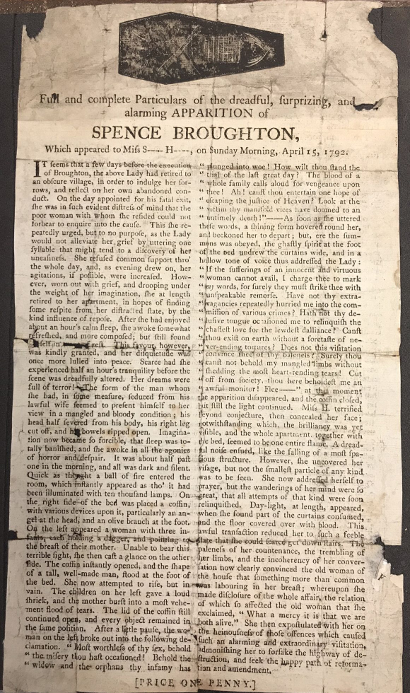 Image of whole broadsheet 'Full and complete particulars of the dreadful, surprizing, and alarming apparition of Spence Broughton...'