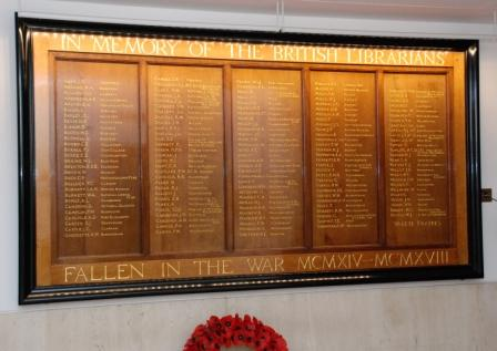 Memorial plaque for the British librarians who lost their lives while serving in the First World War
