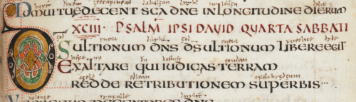 Detail of the opening of Psalm 94 in the Vespasian Psalter with interlinear Old English gloss: