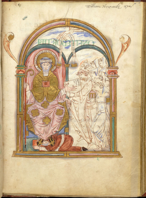 Full-page miniature of St Benedict and the monks of Christ Church, Canterbury, from the Eadui Psalter