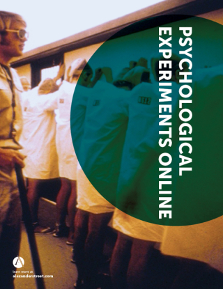"An advertisement for ""Psychological Experiments Online"" shows a group of people in white coats standing with their faces to a wall and their hands over their head, overseen by a man wearing sunglasses and militaristic uniform, and armed with a stick."