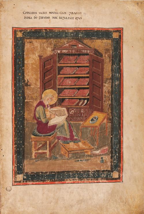 Miniature of Ezra writing in Codex Amiatinus