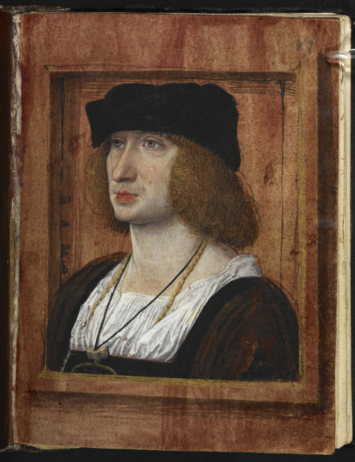 A page from a manuscript of Pierre Sala's Petit Livre d'Amour, showing a portrait of the author.