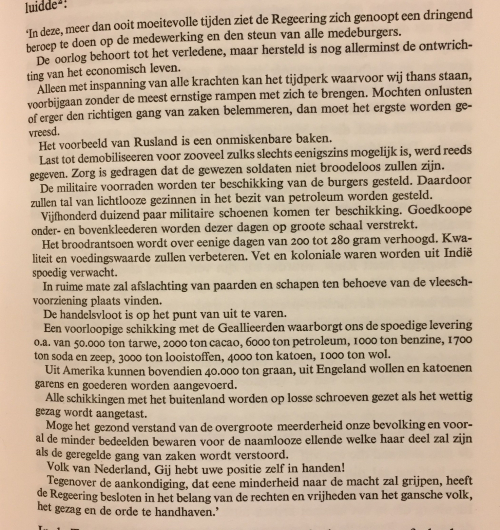 Text in Dutch of a proclamation warning against popular violence and disturbance