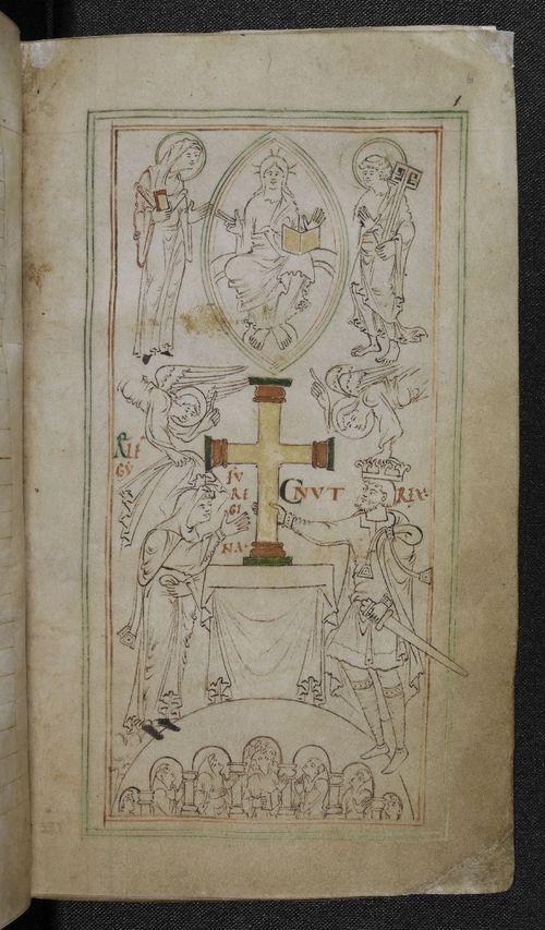 Miniature of Emma and Cnut from the New Minster Liber Vitae