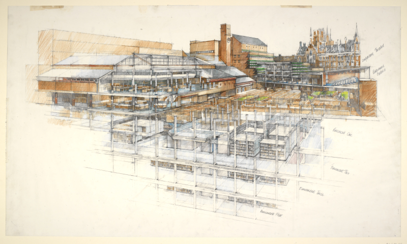 Drawing-of-the-new-British-Library-building-from-Ossulston-Street-by-Colin-St-John-Wilson-c1991