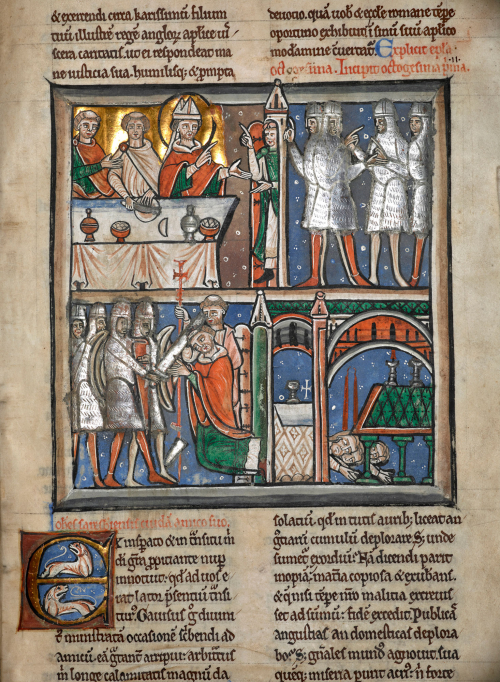 A detail from a 12th-century manuscript, showing the earliest illustration of the martyrdom of St Thomas Becket.