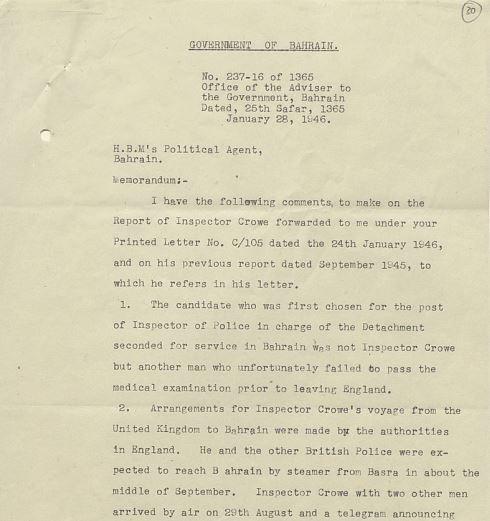 Letter from Charles Belgrave
