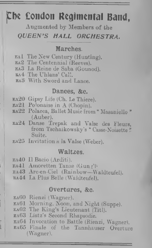 List of London Concert Cylinders by the London Regimental Band
