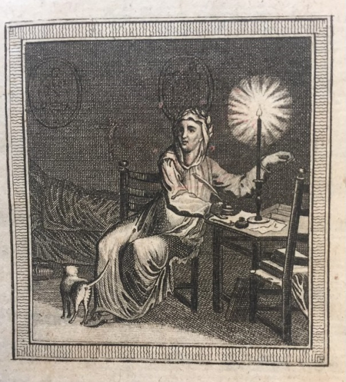 Illustration of Petrarch writing by candlelight with a cat at his feet