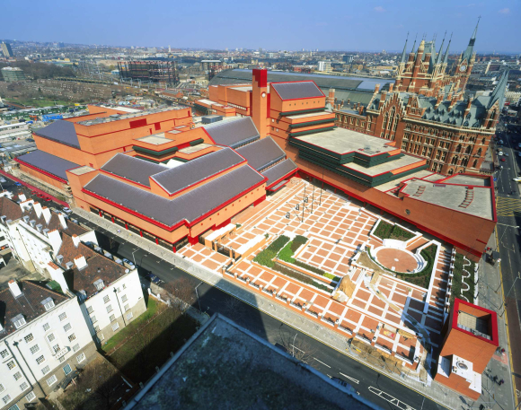 Aerial view of The British Library at St Pancras