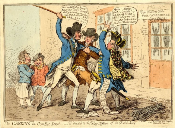Satirical drawing by James Gillray, The Caneing in Conduit Street, dedicated to the Flag Officers of the British Navy, 1796