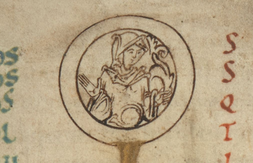 A detail from an Anglo-Saxon calendar, showing a portrait of a female figure, the symbol of the astrological sign Virgo.