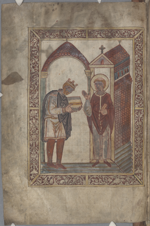 Portrait of King Æthelstan presenting a book to St Cuthbert