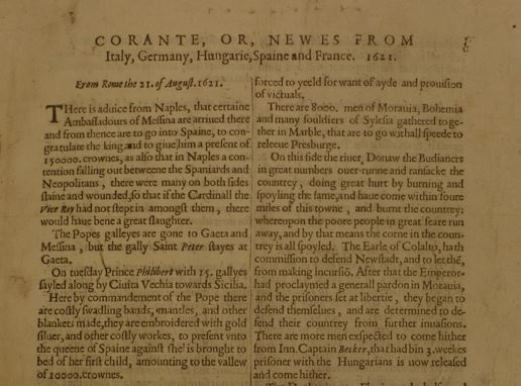 Corante, or, Newes from Italy, Germany, Hungarie, Spaine and France (September 1621), British Library