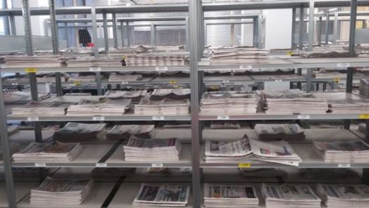 New newspapers received under Legal Deposit awaiting processing at British Library, Boston Spa