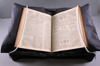 The same book as in the previous image, now displayed on a black cushion, which in itself is supported by a cradle underneath. the snake weights are again running down either page on the outer edges.