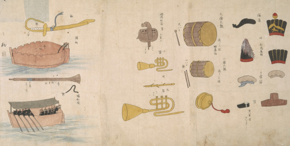 Headgear, musical instruments and rowing boat. Detail from British Library manuscript Or.16453