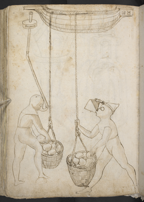 A page from a 15th-century Italian sketchbook, showing a design for diving equipment.