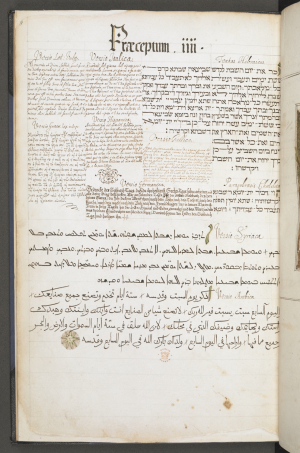 The Polyglot Bible, England, 1665 Add MS 5242, ff. 7v-8r: the commandment of keeping the Sabbath