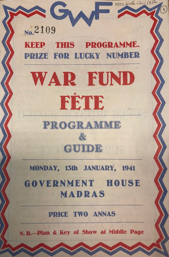 Front cover of the War Fund Fete programme