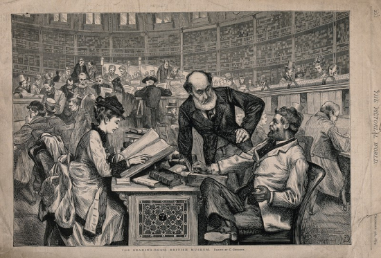 Wood engraving of the British Museum Reading Room from 1874