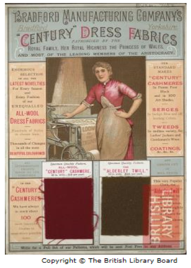 An advertisement for the Bradford Manufacturing Company. Picture is a woman standing next to a loom. There are two fabric samples: a red cashmere and a dark brown twill.