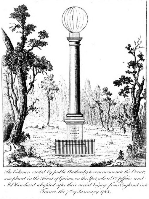 Column erected to mark landing place of Blanchard and Jeffries' balloon