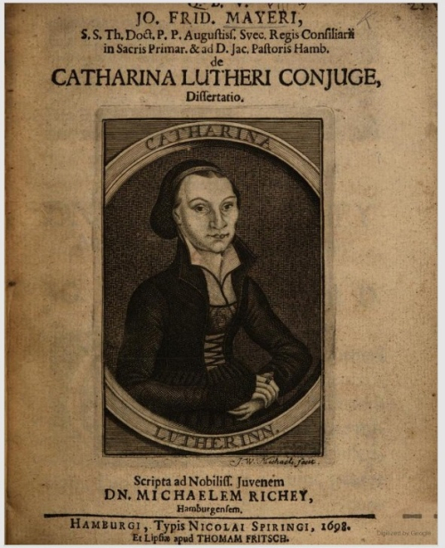 Cover of  'De Catharina Lutheri conjuge dissertatio' (1698) with an engraved portrait of Katharina Luther