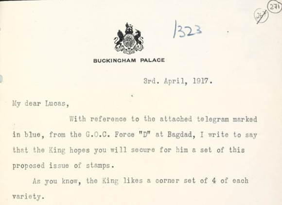Letter from Buckingham Palace asking for set of stamps for King George V