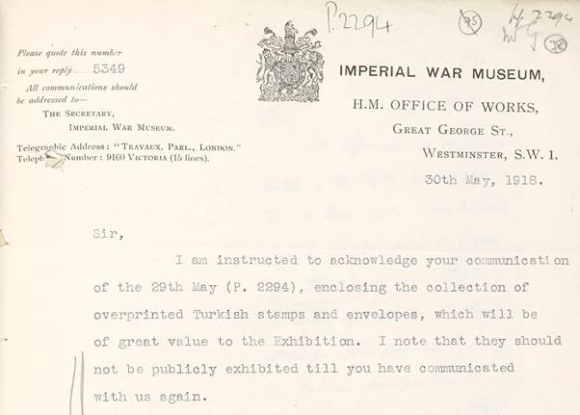 Letter about displaying the stamps at the Imperial War Exhibition, held at Burlington House in 1918.