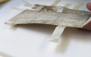 A hand is uplifting the charter, showing the tissue tabs sticking out from all sides of the parchment, afixed underneath. The Charter is resting on white plastazote.