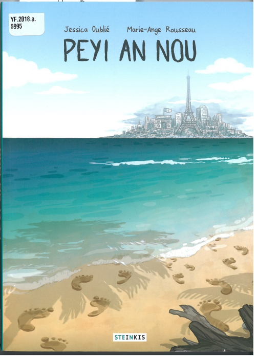 Cover of  'Peyi an nou' showing a tropical beach with a distant view of Paris across the ocean