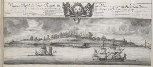 Engraving of Fort Royal in Martinique with ships in the foreground