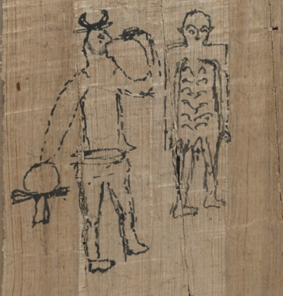 Papyrus showing a drawing of two men, one with a bovine head and holding an ankh
