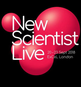 "A poster for ""New Scientist Live"", showing abstract red globes on a black background."