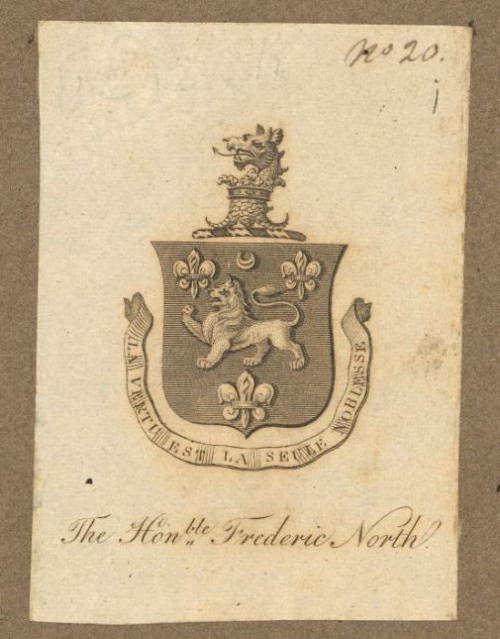 A detail from the inside front cover of an 18th-century Greek manuscript, showing the armorial bookplate of Sir Frederick North.