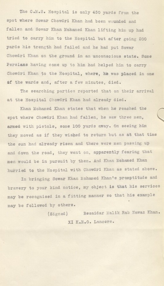 Second page of statement by Resaidar Malik Rab Nawaz Khan, 11th King Edward's Own Lancers, 6 September 1915