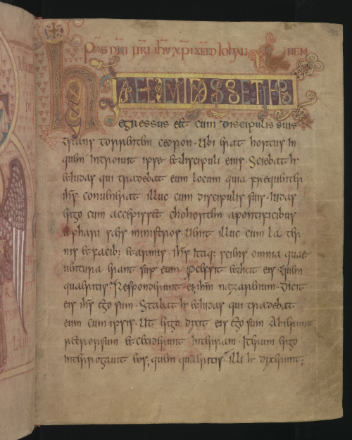 A text page from the Book of Cerne with a decorated initial letter 'h' and display script