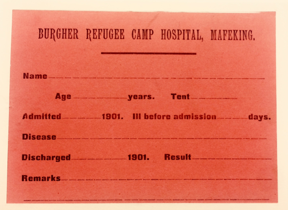Admittance card for the Camp Hospital at Mafeking