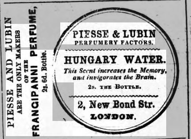 Advertisement for Hungary Water in Homeward Mail from India, China and the East 9 June 1857