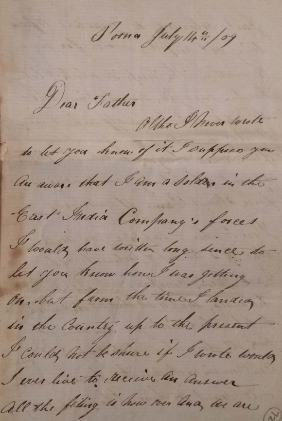 Letter written July 1859 from Poona by Gunner Richard Scott to his father