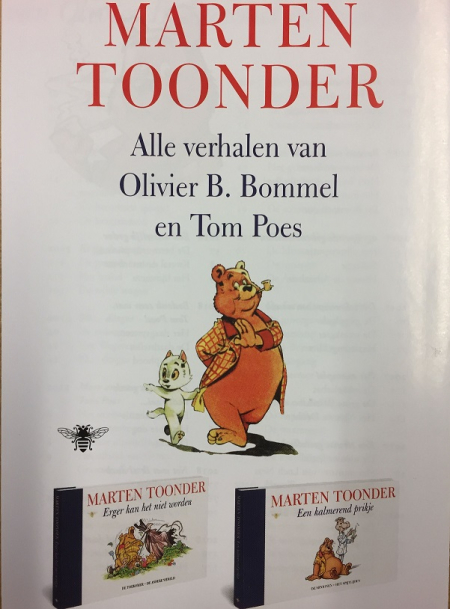 Front cover of a publisher's flyer for Marten Toonder: Alle verhalen van Olivier B. Bommel and Tom Poes