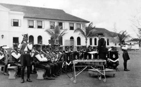The Gold Coast Police Band at the police depot in Accra, Ghana