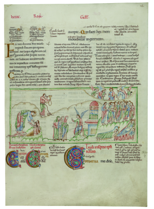 A page from the Eadwine Psalter, showing the three different versions of the text of the Psalms, accompanied by illustrations of Psalm verses and a number of large decorated initials.